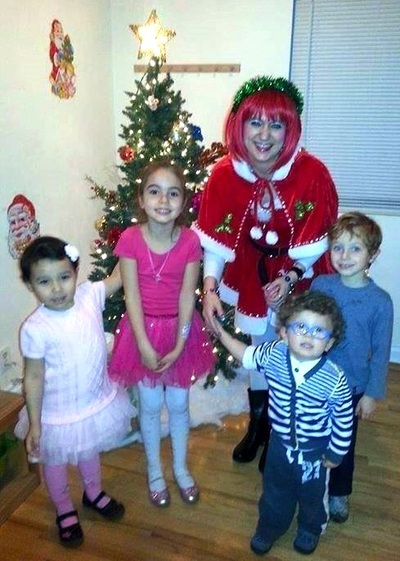 costumed Christmas characters for children's party