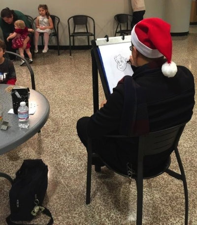 professional caricaturist for grade school holiday event