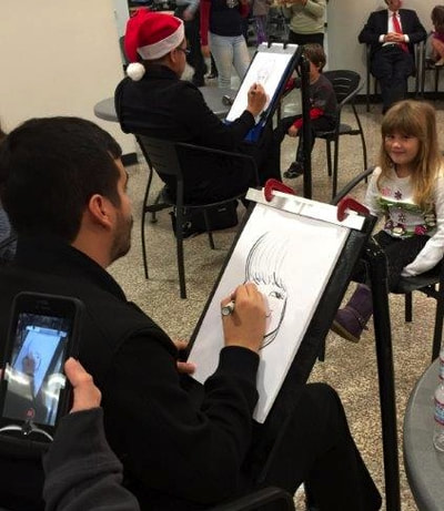 child friendly caricaturist for Christmas party
