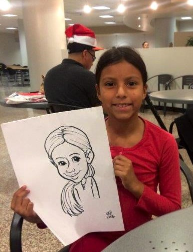 child friendly caricaturists for Christmas holiday party